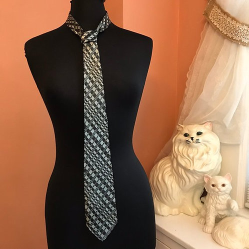 """Vintage Tie, 80s Necktie, Abstract Checkered Black and Silver, 54"""" Skinny Tie"""
