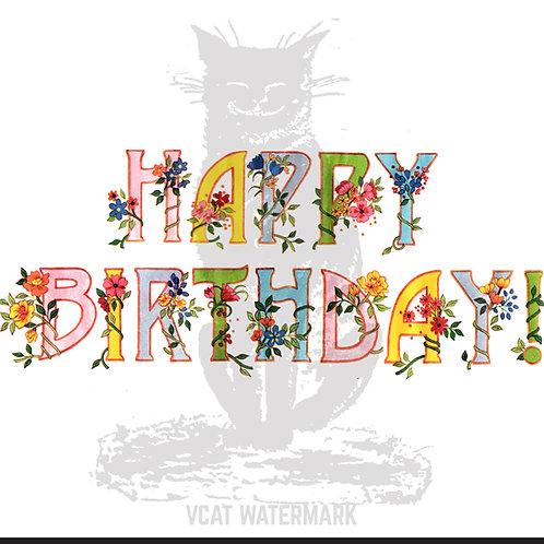 Digital Download, Happy Birthday! Clip Art Vintage Floral Happy Birthday