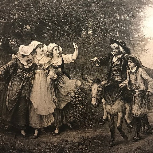 Antique Print, Farming Print, Pastoral Art, The Miller, his son and Ass, Lejeune