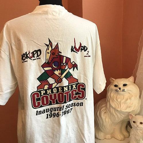 Vintage Tshirt, 90s T-Shirt, Phoenix Coyotes, 98KUPD, Bud Ice