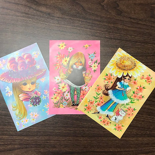 Greeting Card Set, Birthday, Congratualtions, Hippie Girls and Flowers
