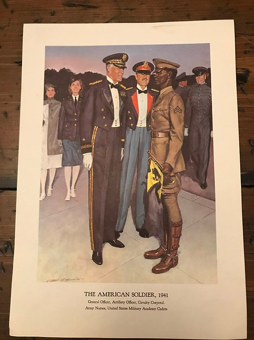 Vintage Print, Military Art, 1966, The American Soldier,1941