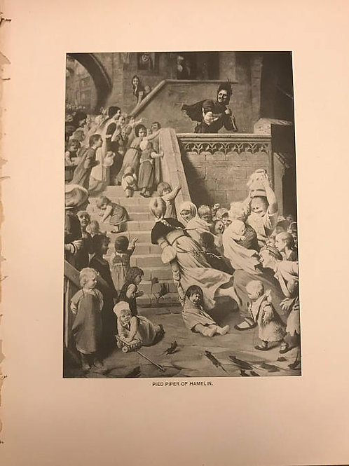 Antique Print, Litho, Pied Piper of Hamelin, Robert Browning