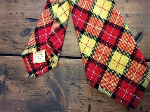 "Vintage Tie, 1960 / 1970Necktie, Plaid Tie MexTex Botany 46"" Red Yellow Plaid"