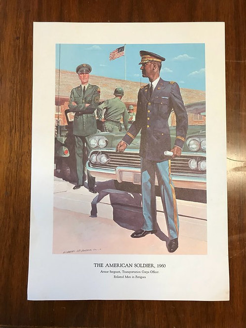 Vintage Print, Military Art, 1966, The American Soldier,1960