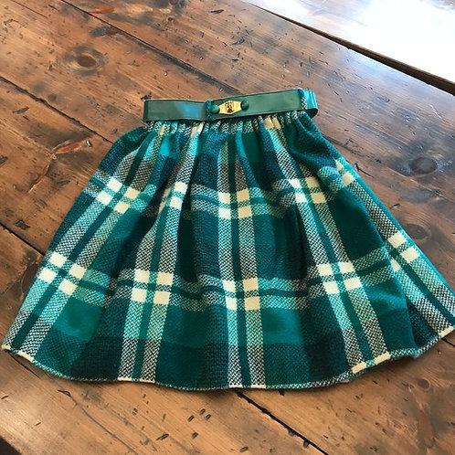 Vintage Skirt, 60s Skirt, Plaid Skirt, Teal Green Skirt, Private School, Uniform