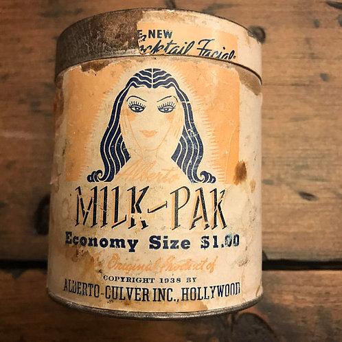 Vintage Art Deco Facial Poweder Tin, Milk-Pak Economy Size