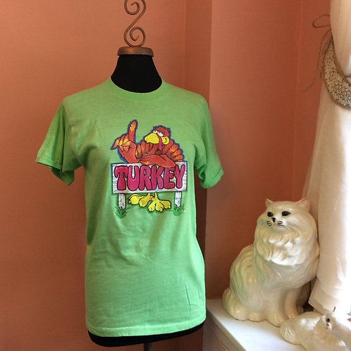 Vintage Tshirt, 70s T-Shirt, Funny TShirt, Turkey Iron-On, Cartoon Turkey,