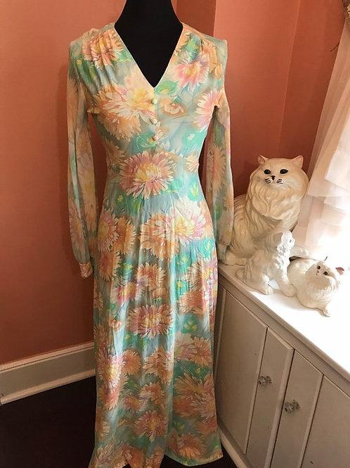 Vintage Maxi Dress, Pastel Maxi Dress, OOAK, Hand Made, Chrysanthemum Print