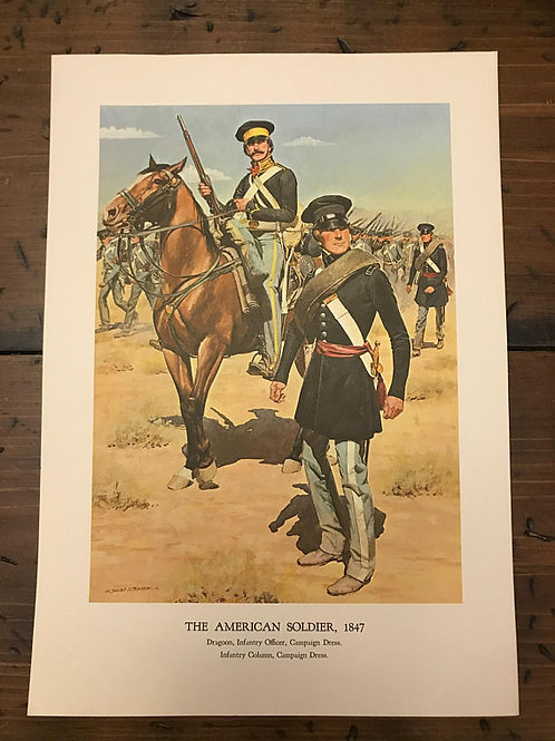 Vintage Print, Military Art, 1966, The American Soldier,1847