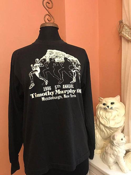 Vintage 80s Tshirt, Middleburge, NY, Marathon 10K, Black