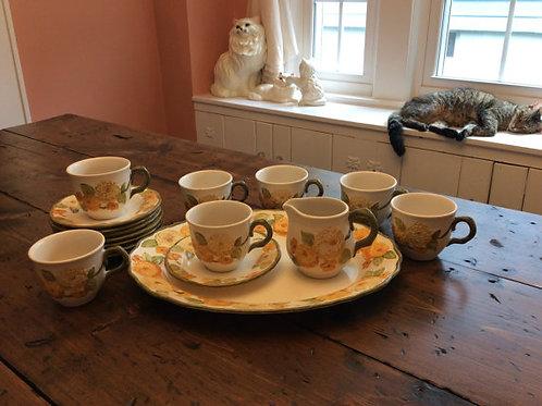Vintage Yellow Zinnia Tea Set, Dessert Platter Set, Poppy Trail