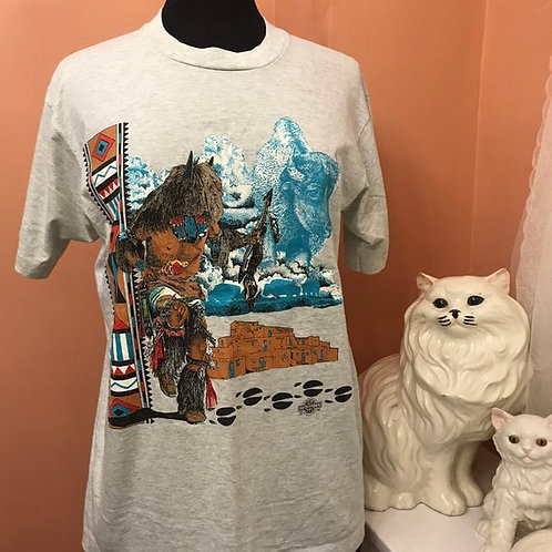 90s T-Shirt, Vintage Tshirt, Sun Dance, Plains Indians Buffalo Dance
