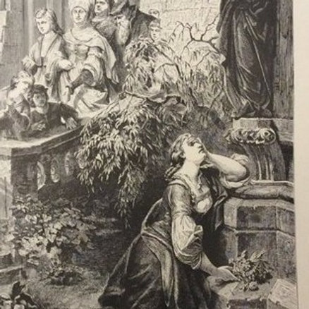 Antique Print, Faust Print, Lithograph, Faust by Goethe, Margaret before Mater