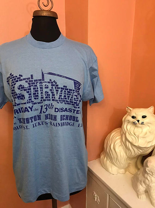 Vintage Tshirt, 80s Screen Stars Tshirt, Ohio, I Survived Friday 13th Disaster