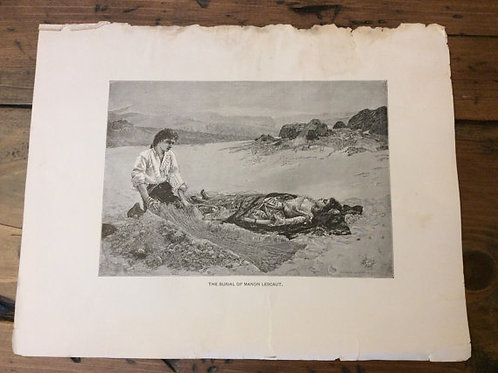 Antique Print, Lithograph, Puccini Opera, Wood Engracving, Tragic Death