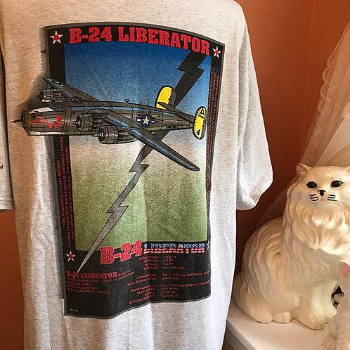 Vintage 90s Tshirt, Vintage Tshirt, B-24 Liberator, Airplane, WWII, Museum