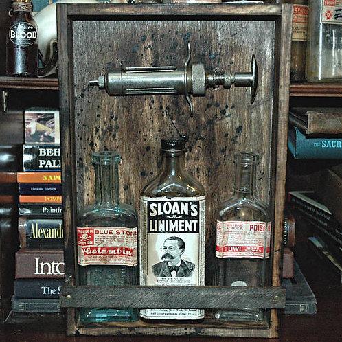 Medicine Cabinet, Apothecary Art, Antique Bottles, Poison Bottles, Halloween