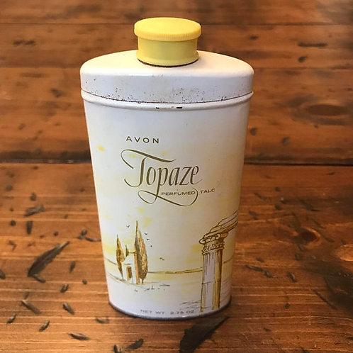 Vintage Avon Topaze Perfumed Talc, 1970s, Yellow Metal Tin