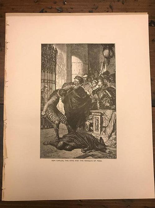 Antique Print, Lithograph, Schiller's Don Carlos, Wood Engraving