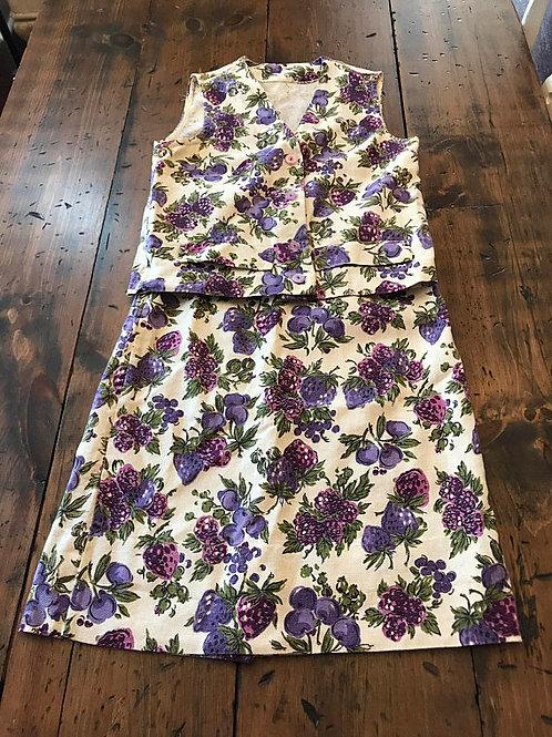 Vintage 50s / 60s Skirt and Vest, Wiggle Skirt, Purple Floral, Fruit Grapes