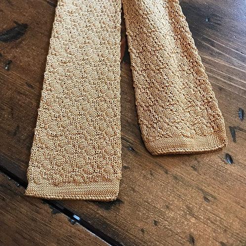 """50s / 60s Necktie, 49"""" Skinny Tie, Square Bottom Knit Tie Gold, Beige"""