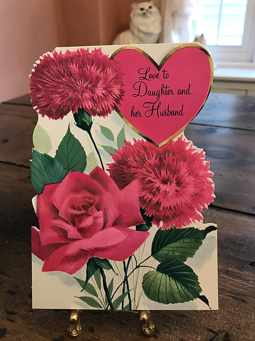 Greeting Cards, Vintage Card, Valentines Card, Daughter & Husband