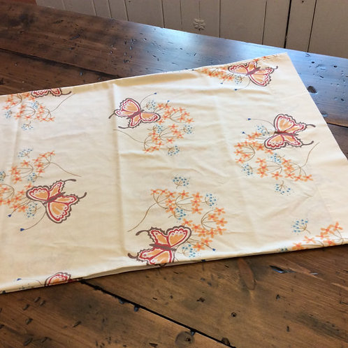 Vintage 70s Pillowcase - Butterfly & Flowers