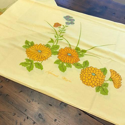 Vintage Pillowcase, 70s Hanae Mori Yellow Pillowcase - Orange Poppy Zinnia