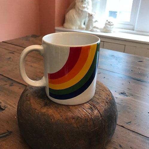 Vintage 80s Mug, Rainbow Coffee Cup, Gay Pride Mug, LGBT Collectible Mug