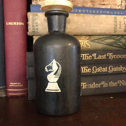 Vanity Bottle, Chess Pieces Bottle, T.C.W Co Antique Black Wheaton Bottl