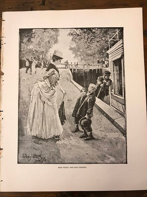Antique Print, Miss Peggy, William Blacks Strange Adventures of a Houseboat
