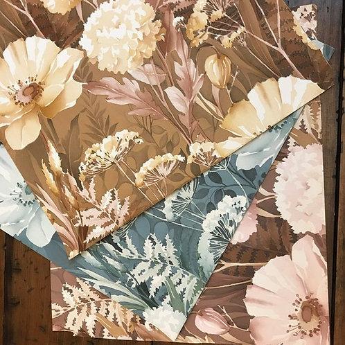 """Vintage 1977 Wallpaper Sample - 17""""x15"""" - Brown, Pink, Blue Flowers"""