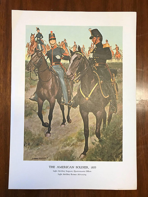 Vintage Print, Military Art, 1966, The American Soldier,1855
