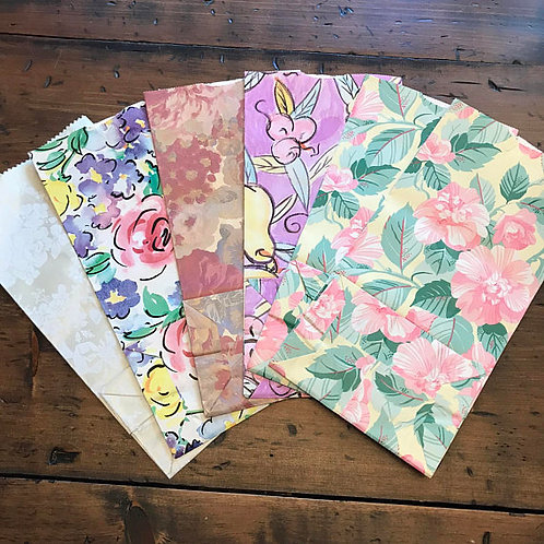 Vintage Gift Bags, Floral Paper Gift Bags, Party Favor Bags