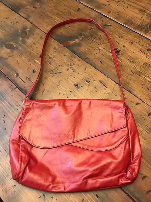 Vintage Red Leather Handbag, Blood Red, NOS, Soft Leather, Envelope Purse Coban