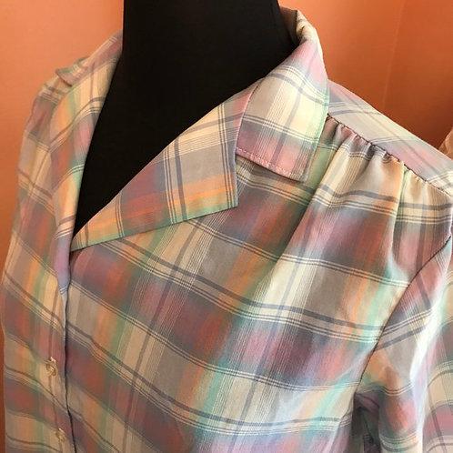 Vintage Plaid Shirt, Purple Cotton Blouse, Vintage 70s, PreppyTop, Short Sleeve