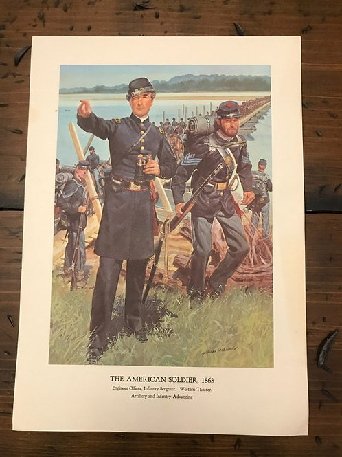 Vintage Print, Military Art, 1966, The American Soldier,1863