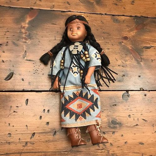 "Vintage Native American Doll, Plastic cloth, 13"" Dark Skinned, Native American"