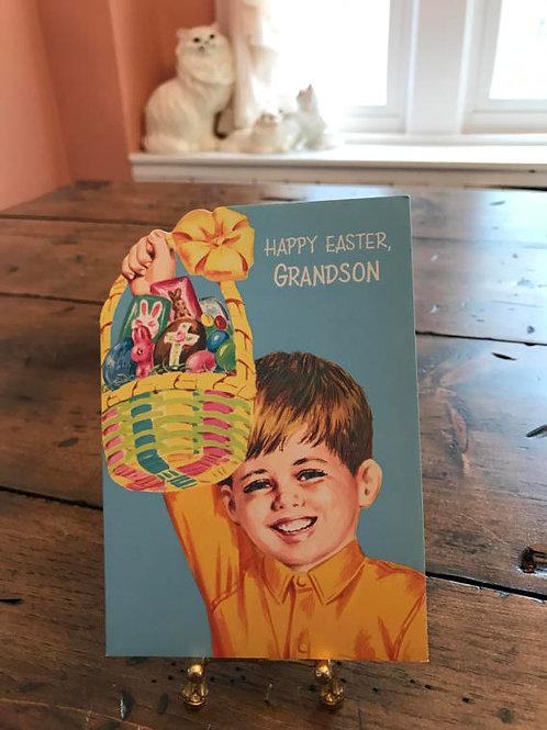 Vintage Card, Greeting Cards, ForGrandson, Easter Basket, Easter Bunny