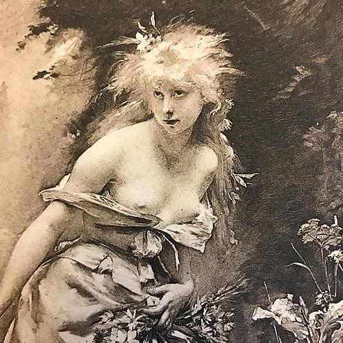 Antique Print, Litho, Shakespeare's Hamlet, Ophelia, Hess Press, Suicide, Tragic