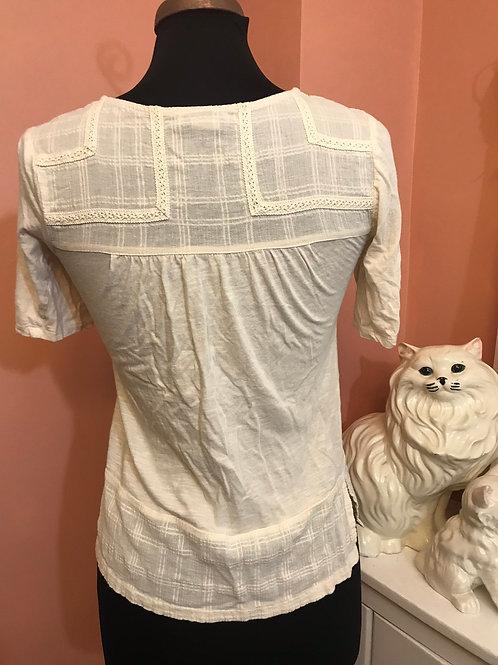 Lucky Brand, Ivory Summer Shirt, Bohemian, Hippie Shirt, Victorian, Steampunk