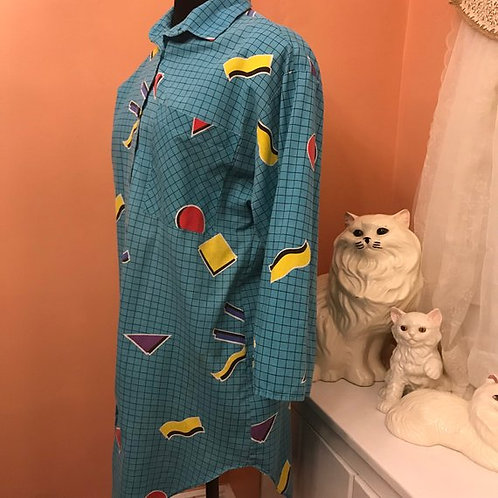 Vintage Blouse, 80s Shirt Dress, Roller Skate, Tunic Length, Saved By the Bell