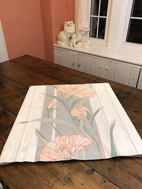 Full Size Sheet, Tropical Flower, Art Deco Revival, Pink, Grey, White