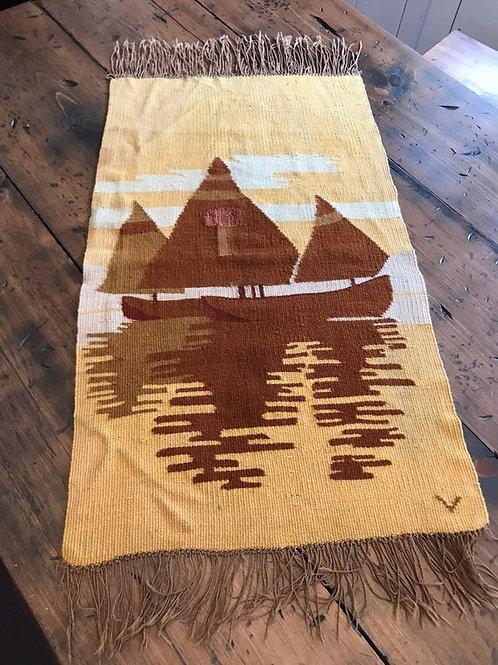 Vintage Rug, Woven Sailboats, Asian Tapestry, Sailboat Wall Hanging