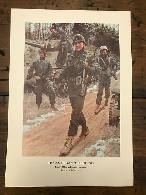 Vintage Print, Military Art, 1966, The American Soldier,1945