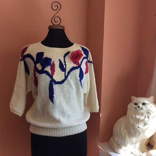 Vintage 80s Sweater, Ugly Sweater, Mom Sweater, Floral and Pearls