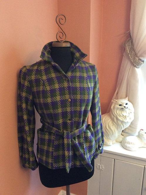 Vintage 60s Wool Belted Jacket Green Purple Plaid Wool