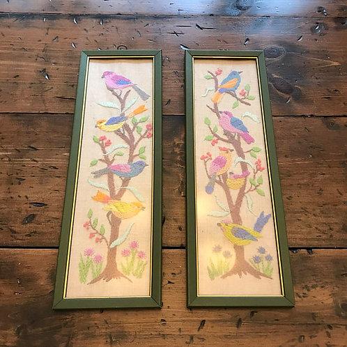 Vintage 60s, Flower Art, Crewel Art, Birds in Trees, Country Art, Flower Art