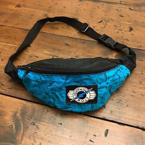 Vintage Fannypack, 80s Fanny Pack, Lightning Bolt, Black and Teal, Belt Bag